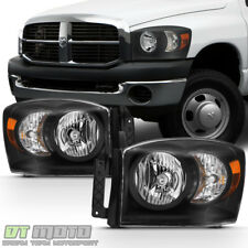 Black 2007-2008 Dodge Ram 1500 07-09 2500 3500 Headlights Left+Right Replacement