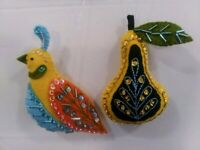 12 Days of Christmas Hand made Partridge and Pear Beaded Christmas Ornaments