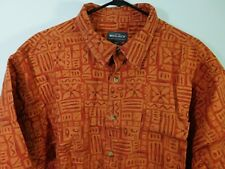 Woolrich S/S Button Front Shirt Men's 2XL Orange & Red Tribal Tiki Print