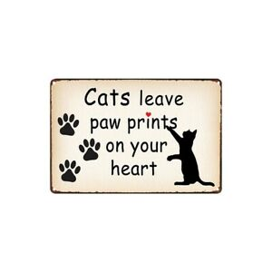 Metal Tin Sign leave paw prints on your heart Decor Bar Pub Home Vintage Retro