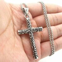 MENDEL Cool Mens Womens Gothic Cross Pendant Necklace For Men Stainless Steel
