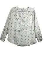 Old Navy Top Henley Neckline Cotton Rayon Polka Dots White Size L