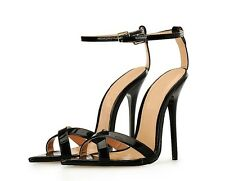 14 cm Sexy sky high heels patent black sandals fetish high heels US13 44