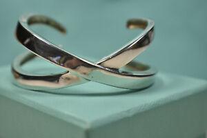 Tiffany & Co Picasso Grafitti X Cuff Bangle Bracelet Silver Pouch & Box $825 Ret