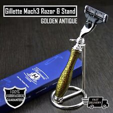 Men's 3 Edge Shaving Razor With Stainless Steel Stand Mens Grooming Gift Set
