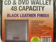 48 BLACK LEATHER FINISH CD DVD BLU RAY CARRY CASE HOLDER BAG WALLET STORAGE CAR