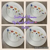 NEW (4) Royal Stafford Spring Scattered Flowers Dinner Plates Home Kitchen 11""
