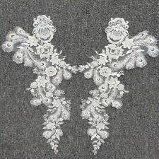 Apagado Blanco con Cable motivo bordado con cuentas ribete de encaje boda de encaje y apliques 1 Par