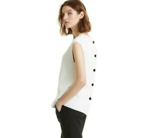 NWT Country Road Button Back Knit Top [All Sizes] White Milano Blouse Shirt CR
