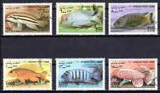 Poissons Afghanistan (47) série complète de 6 timbres oblitérés
