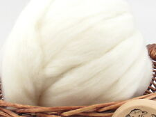 White Shetland Wool Top Roving - Undyed Natural Spinning Fiber / 1oz