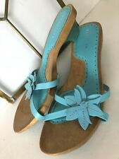 Kenneth Cole Reaction Womens Sun Thong Low Heel Blue Leather Flip-Flops Sandals