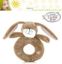 INDOVINA quanto ti amo Dado di Lepre marrone Peluche Loop anello con sonagli-Baby Regalo Toy