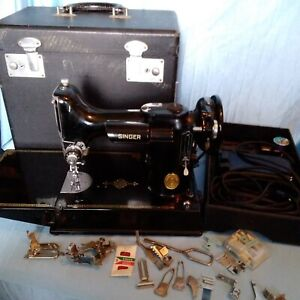 Vintage Featherweight 1948 Singer Sewing Machine 221 w/Case and Attachments