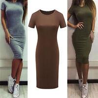 Women Cotton Knee-Length Skinny Office Dress Short Sleeve Bodycon Pencil DressFL