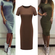 Women Cotton Knee-Length Skinny Office Dress Short Sleeve Bodycon Pencil Dress T