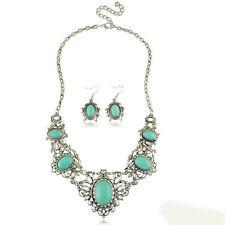 Vintage Turquoise Blue Teardrop Jewellery Set Earrings & Statement Necklace S380