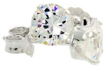 Sterling Silver Clear CZ Stud Earrings Round Brilliant Cut Fine 925 Nickel Free