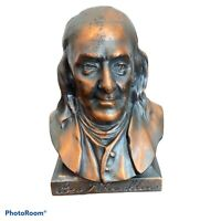 Vintage Ben Franklin Metal Coin Bank - Franklin Life Insurance Company- Copper