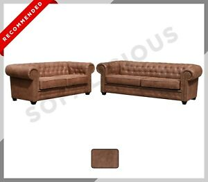 Brand New Astor CHESTERFIELD 3+2 Sofa Set | Distressed Brown Suede Leather