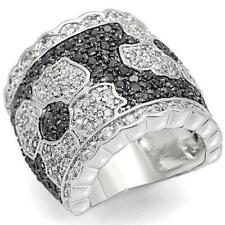 Ladies cz band ring wide comfort black flower silver Rhodium + Ruthenium 1346