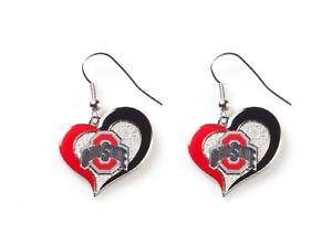 Ohio State Buckeyes NCAA Silver Swirl Heart Dangle Earrings Aminco