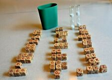 Scrabble Crossword Cube Game Pieces Red Letter Timer Cup Used Jewelry Parts