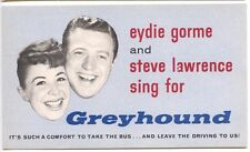 Edie Gorme & Steve Allen Presents Sunday Night Greyhound Bus Advertise Postcard