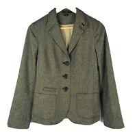 Gap Herringbone 3 Button Blazer Jacket Tweed Brown Career Work Womens Size 8
