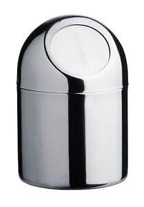 SMALL MINI PUSH TOP WASTE BIN DESKTOP BIN STAINLESS STEEL BATHROOM HOME OFFICE