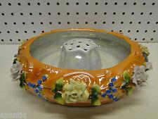 German Iridescent Lusterware 10in Bowl w Flower Frog & Applied Porcelain Flowers
