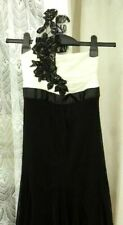 ( Ref 2129 ) Jane Norman - Size 10 - Black & White One Shoulder Evening Dress