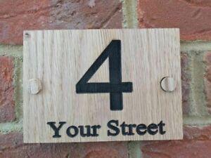 Personalised Oak House Sign, Custom Engraved Outdoor Wooden Door Number Plaque