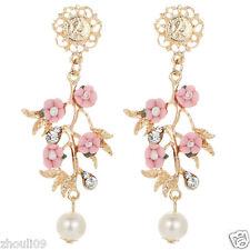 New Woman Elegant flower crystal Rhinestone long Ear Studs hoop earrings 830