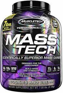 MuscleTech Mass-Tech Gainer 3180g Whey Protein Carbs BCAA Glutamine Egg