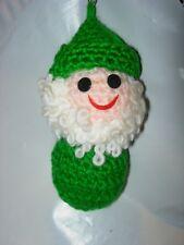 CHRISTMAS TREE ORNAMENT HOLIDAY DECOR HANDMADE VINTAGE CROCHET ELF ELVES GREEN