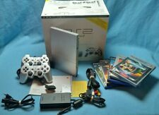 Playstation 2 PS2 slim silver console SCPH-75004 PAL boxed 2 controllers 5 games