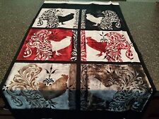 Bonjour Panel by Color Bakery Quilting Treasures Dark Red Gray Beige Rooster