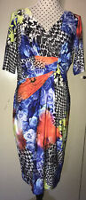ANTHEA CRAWFORD Rose Patterned Wrap Front Stretchy Dress Size 14