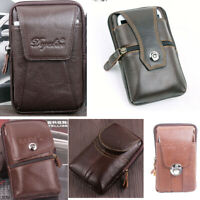 Men Genuine Leather Belt Bag Funny Waist Pack Cell Mobile Phone Case Pouch Purse