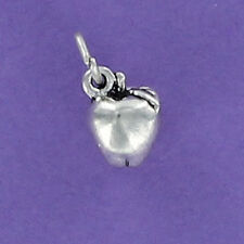 Apple Charm Sterling Silver for Bracelet 3D Tiny Leaf Teacher Fruit Snow White