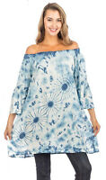 Nwt SACRED THREADS blue white tie dye off shoulder long TOP TUNIC O/S fits S M