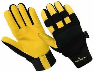 WorkWear Real Leather Gloves - Palm 4way Strech Thinsulate Working Mitten Unisex