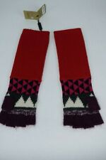 NWT $295 Womens Burberry Jacquard Patchwork Gloves Fingerless Cashmere