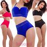 Bikini donna costume bagno pinup mare vita alta inserti velo sexy nuovo HH622