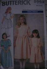 Vintage girl sewing pattern 1980s Butterick Bridesmaid 5962 dress 4 5 6 bows