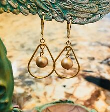 18k Gold Plated Teardrop and Swarovski Pearl Earrings by CurlanceCreations