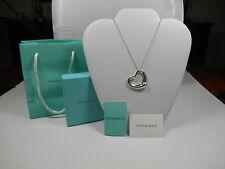 "Tiffany & Co Elsa Peretti  XL LARGE Open Heart Pendant 24"" Necklace"