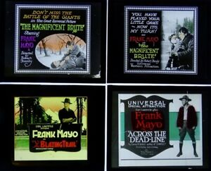 Four Early Glass Movie Slides (Group 9)  - Frank Mayo