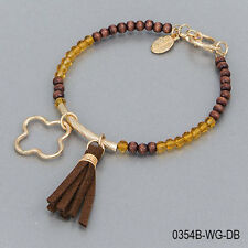 Brown Wood Yellow Faceted Seed Beaded Tassel Gold Charm Bangle Bracelet